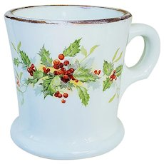 "Beautiful Early Vintage Milk Glass 1900's Christmas ""Holly & Berry"" 3-1/2"" Floral Shaving Mug"