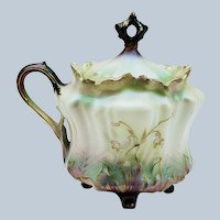 Beautiful RS Prussia 1900's Tiffany & Satin Finish 4-Footed Mustard Pot