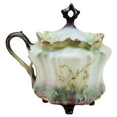 Beautiful RS Prussia 1900's Tiffany & Satin Finish 4-Footed Mustard Pot
