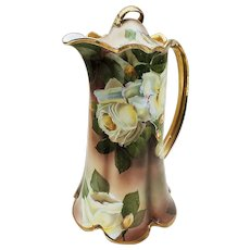 "Wonderful Vintage Rosenthal 1900's Hand Painted ""White & Yellow Roses"" 11"" Floral Chocolate Pot by the Artist, Tilberth"