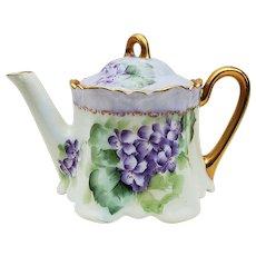 "Beautiful Bavaria 1900's Hand Painted ""Violets"" Floral Tea Pot"