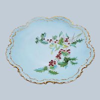"Charming Holly & Berry Rosenthal Bavaria 1900's Hand Painted ""Holly & Berry"" Christmas Floral Plate"