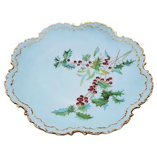 """Charming Holly & Berry Rosenthal Bavaria 1900's Hand Painted """"Holly & Berry"""" Christmas Floral Plate"""