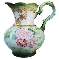 """Fabulous Vintage CT Altwasser Silesia 1900 Hand Painted """"Pink Zinnia"""" 8-1/2"""" Water Pitcher"""