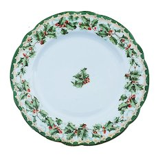 """Gorgeous Imperial Austria 1900 """"Holly & Berry"""" 7-3/4"""" Christmas Floral Plate"""