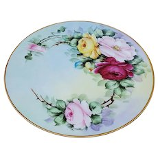 "Gorgeous Vintage J & C Bavaria 1900's Hand Painted ""Red, Pink, & Yellow Roses"" 8-1/2"" Floral Plate, by Listed Artist, ""M. Gray"""