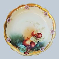 """Gorgeous Limoges France & Pickard Studio of Chicago 1903 Hand Painted """"Cherries"""" 10-1/2"""" Fruit Bowl by the Listed Artist, """"Leon"""""""