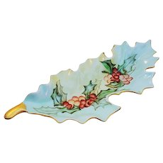 """Fancy Bavaria 1900's Hand Painted """"Holly & Berry"""" 9-3/8"""" Christmas Floral Scallop Tray by Artist, """"B. Winstead"""""""