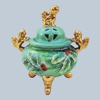"Stunning American Artist Decorated 1900's Hand Painted Christmas ""Holly & Berry"" 3-Footed Chinese Lions Incense Jar"