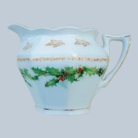 "Charming Vintage Z.S. & Co. Bavaria 1900's Christmas ""Holly & Berry"" Cream Pitcher"
