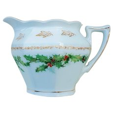 """Charming Vintage Z.S. & Co. Bavaria 1900's Christmas """"Holly & Berry"""" Cream Pitcher"""