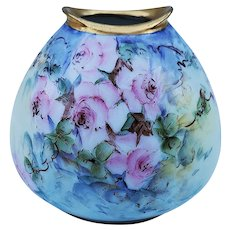 "Stunning RS Germany 1910 Hand Painted ""Wild Pink Roses"" Floral Vase by Artist, ""Ester Mansfield"""