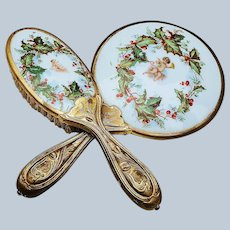 """Spectacular Vintage 1920's """"Putti's with Holly & Berry"""" Christmas Scenic Dresser Hand Mirror & Brush Set"""