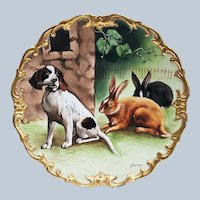 "Outstanding 13-3/8"" L.R.L. Limoges France 1900's Hand Painted ""Hunting Dog with Rabbits"" Rococo Style Scenic Charger by French Artist, ""Bazanrun"""