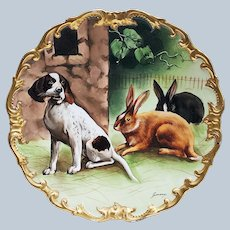 """Outstanding 13-3/8"""" L.R.L. Limoges France 1900's Hand Painted """"Hunting Dog with Rabbits"""" Rococo Style Scenic Charger by French Artist, """"Bazanrun"""""""