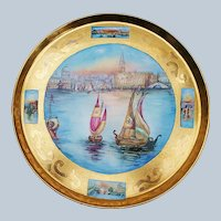 """Gorgeous Tressemann & Vogt Limoges France 1900's Hand Painted """"Italian Venice Panoramic View"""" 11-3/8"""" Scenic 22 K Gilded Tray"""