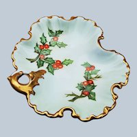 "Charming Bavaria 1900's Hand Painted ""Holly & Berry"" 6"" Christmas Fancy Scallop Nappy by Artist, ""W. Rolfe"""