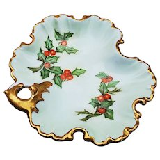 """Charming Bavaria 1900's Hand Painted """"Holly & Berry"""" 6"""" Christmas Fancy Scallop Nappy by Artist, """"W. Rolfe"""""""