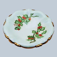 "Beautiful Vintage Bavaria 1900's Hand Painted ""Holly & Berry"" Christmas Floral Pedestal Compote by Artist, ""W. Rolfe"""