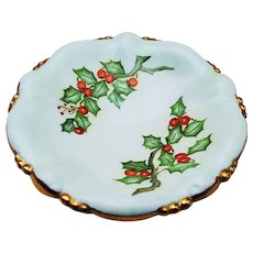 """Beautiful Vintage Bavaria 1900's Hand Painted """"Holly & Berry"""" Christmas Floral Pedestal Compote by Artist, """"W. Rolfe"""""""