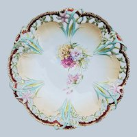 """Spectacular 12"""" RS Prussia 1900 """"Red, Pink, & Yellow Carnation"""" Reticulated Floral Chop Plate"""