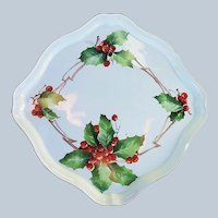 "Wonderful Bavaria 1900's Hand Painted ""Holly & Berry"" 9"" Rectangular Christmas Floral Tray by the Artist, ""Al Belen"""