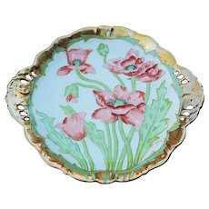 """Gorgeous Vintage Elite Limoges & Pitkin & Brooks 1900's Hand Painted """"Burnt Orange Poppy"""" 10-1/4"""" Heavy Gilded Floral Plate by Artist, """"L. Luca"""""""