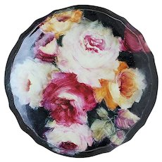 """Gorgeous Bavaria 1900's Hand Painted """"Red, Pink, White, & Yellow Roses"""" 7-1/2"""" Floral Dresser Box"""