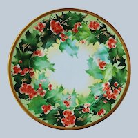 "Gorgeous 9-1/2"" Vintage Limoges France Hand Painted ""Holly & Berry"" Christmas Floral Plate"