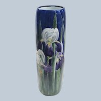 """Spectacular 16-1/4"""" William Guerin Limoges France 1900 Hand Painted Colorful """"Iris"""" Floral Vase"""