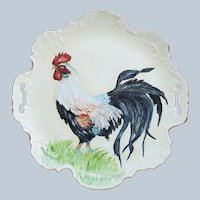 "Outstanding Bavaria Vintage 1900's Hand Painted ""Barnyard King Rooster"" Colorful Scenic Plate By Artist, ""Carolee Steigers"""