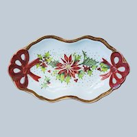 "Wonderful Vintage Bavaria 1900's Hand Painted ""Holly & Berry & Poinsettia"" 7"" Christmas Floral Tray by Artist, ""June Ham""."