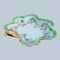 """Beautiful Bavaria 1900's Hand Painted """"Chain of Pink Roses"""" 8-1/2"""" Scalloped & Crimped Floral Nappy"""