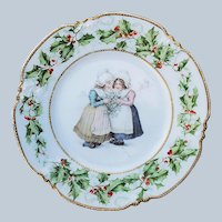 "Charming Vintage Heinrich & Co. Bavaria 1900's ""Dutch Girls Sharing Holly & Berry"" Christmas Floral & Scenic Plate"