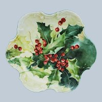 "Gorgeous Bavaria 1900's Hand Painted ""Holly & Berry"" 8"" Holiday Fancy Scallop Candy Dish by Artist, ""T. Koenig"""