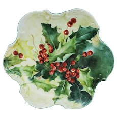"""Gorgeous Bavaria 1900's Hand Painted """"Holly & Berry"""" 8"""" Holiday Fancy Scallop Candy Dish by Artist, """"T. Koenig"""""""