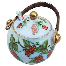 "Beautiful Vintage Bavaria 1900's Hand Painted ""Red Currant"" Mustard Pot & Matching Spoon by Artist, ""W. Rolfe"""
