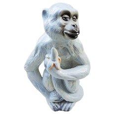 """Stunning 13"""" Germany 1900's Large """"White Monkey Holding a Banana"""" Porcelain Figurine"""
