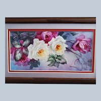 """Gorgeous Bavaria 1900's Hand Painted """"Red & White Roses"""" 15-1/2"""" x 9-1/2"""" Floral Plaque by Artist, """"J.E. Helm"""""""