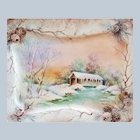 """Wonderful Bavaria 1900's Hand Painted """"Winter Scene of a Covered Bridge"""" 15"""" x 12"""" Scenic Platter by Artist, """"D. Richeson"""""""