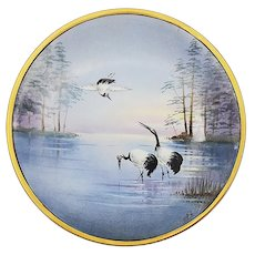 """Stunning Jean Pouyat Limoges France & J.H. Stouffer Studio of Chicago 1906 Hand Painted """"Three Red Crown Cranes at Sunrise"""" 8-1/2"""" Scenic Plate by Listed Artist, """"Thomas Jelinek"""""""