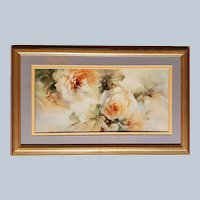 "Gorgeous Bavaria 1900's Hand Painted Lifelike ""Yellow Roses"" 15-3/8"" x 9-1/2"" Floral Plaque by Artist, ""Paula White"""