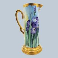 "Fabulous Vintage Bavaria 1906 Hand Painted Brilliant Gilded ""Purple Iris"" Floral Tankard by the Artist, ""Kellogg"""