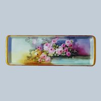 """Wonderful 14-3/4"""" Bavaria 1900's Hand Painted """"Pink & Yellow Roses"""" Over A Pond Floral Tray"""