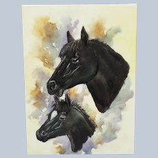"""Charming Vintage Bavaria 1900's Hand Painted """"Black Mare & Her Foal"""" 7-3/4"""" x 5-5/8"""" Scenic Plaque"""