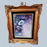 """Spectacular """"Purple & White Morning Glory"""" 15-1/2"""" x 13-1/2"""" Floral Plaque in Rococo Style Gold Frame by Artist """"Gerry Burchill"""""""