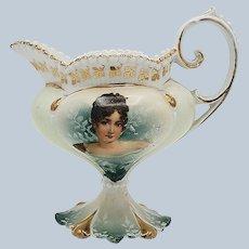 """Wonderful RS Prussia Art Nouveau 1900's """"Madame Juliette Récamier"""" Portrait Pedestal Cream Pitcher"""