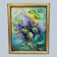 """Gorgeous Bavaria 1900's Hand Painted """"Purple Lilacs"""" 11"""" x 9"""" Floral Plaque by Artist, """"Wanda Hatcher"""""""