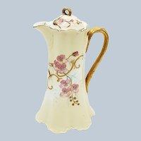 "Gorgeous Haviland & Co. France 1900 Hand Painted ""Pink Violets"" 9-1/4"" Floral Chocolate Pot"