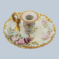 """Exquisite GDA Limoges France 1900 Hand Painted Lifelike """"Red & Pink Roses"""" Heavily Gilded Floral Chamberstick Holder"""